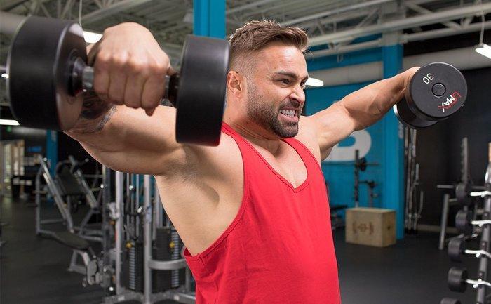 Jason Poston shoulder exercise.